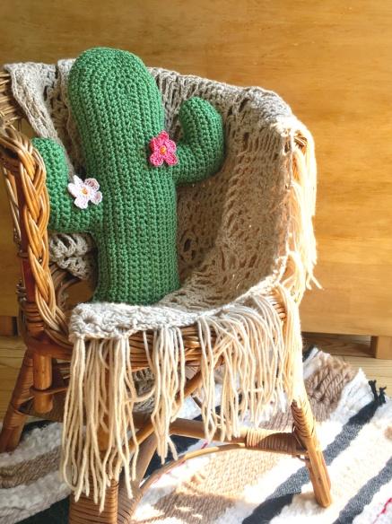 patron cactus coussin crochet